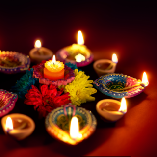 Colorful clay lamps lit during diwali celebrations