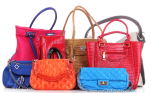 a selection of colourful handbags