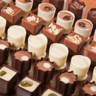Rows of artisan chocolate truffles