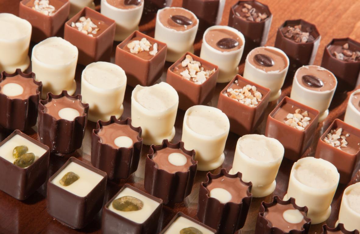 Rows of artisan chocolate truffles