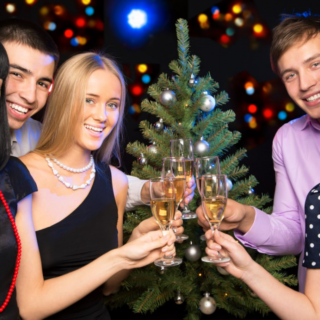 people celebrating christmas events