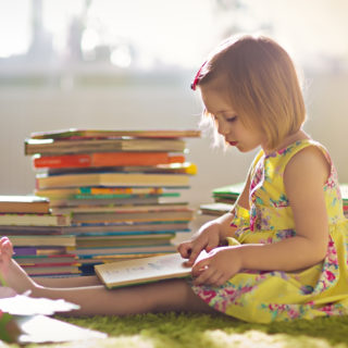 A child reading books