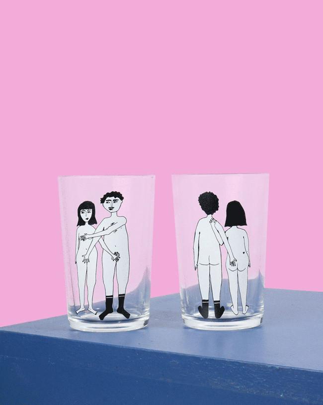 Naked Couple Glasses Set