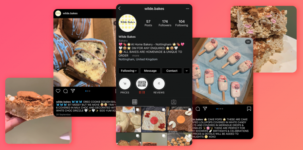 Holly Wilde from Nottingham bakes and delivers them - another one of our Instagram businesses