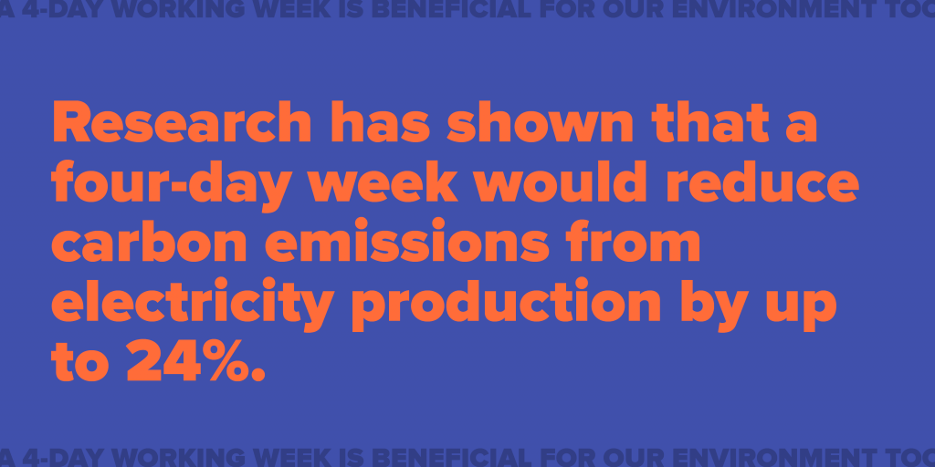 A reduced carbon footprint – Research has shown that a four-day week would reduce carbon emissions from electricity production by up to 24%.
